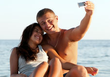 Portrait of happy couple enjoying vacations royalty free stock photography