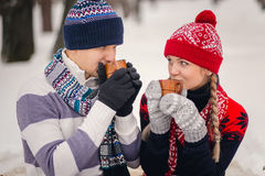 Portrait of happy couple going to drink hot tea on winter day Royalty Free Stock Image