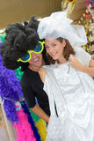 Portrait happy couple having fun trying costumes Royalty Free Stock Image