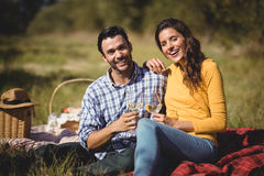 Portrait of happy couple holding wineglasses while sitting on picnic blanket Royalty Free Stock Images