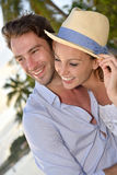 Portrait of happy couple on holidays in tropics Royalty Free Stock Photography