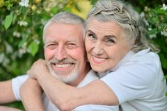 Happy couple hugging in spring park. Portrait of happy couple hugging in spring park stock photography