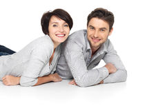 Portrait of happy couple isolated on white Stock Image