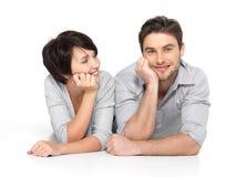 Portrait of happy couple isolated on white Stock Image
