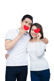 Portrait of happy couple isolated on white background. Attractiv Stock Photography