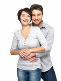 Portrait of happy couple isolated on white Royalty Free Stock Photo