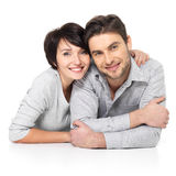 Portrait of happy couple isolated on white Royalty Free Stock Photos