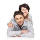 Portrait of happy couple isolated on white Royalty Free Stock Image
