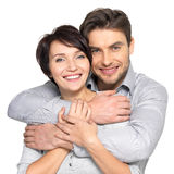 Portrait of happy couple isolated on white. Background. Attractive men and women being playful royalty free stock photo