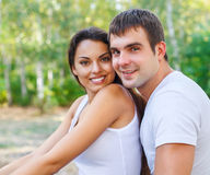 Portrait of a happy couple laughing at camera Royalty Free Stock Photos