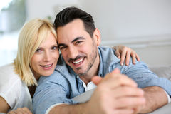 Portrait of happy couple looking at camera Stock Images