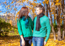 Portrait of Happy couple in love on autumn sunny Royalty Free Stock Photography