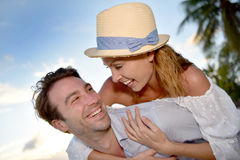 Portrait of happy couple in love having fun Royalty Free Stock Image