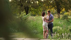 Happy pregnant woman and her husband in the forest stock video footage