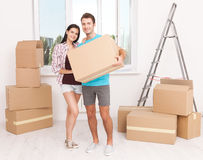 Portrait of happy couple in new home Royalty Free Stock Images