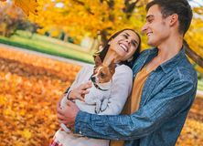 Portrait of happy couple outdoors in autumn Royalty Free Stock Photos