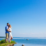 Portrait of happy couple over beautiful sea view Royalty Free Stock Photography