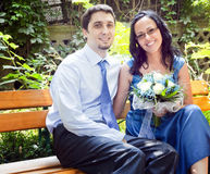 Portrait of happy couple in park Stock Photos