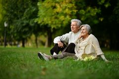 Portrait of happy couple sitting in spring park. Happy couple sitting in spring park royalty free stock photography