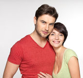 Portrait of happy couple at studio Stock Images