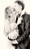 Portrait of happy couple on their wedding day Stock Images