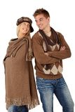 Portrait of happy couple in warm clothes Stock Image