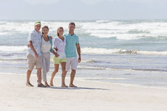 Portrait of happy couples walking on sunny beach stock photography