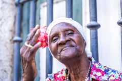 Portrait of a happy cuban woman in Havana, Cuba.  Royalty Free Stock Image