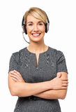 Portrait Of Happy Customer Service Representative. Wearing headset isolated over white background. Vertical shot Stock Photography