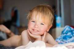 Portrait of a happy cute boy at home. royalty free stock photo