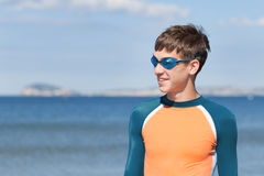 Portrait of happy cute boy wearing snorkeling mask Royalty Free Stock Image