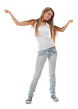 Portrait of happy dancing girl Royalty Free Stock Photography