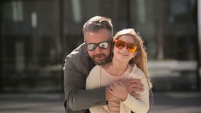 Portrait of happy daughter with his father. They are having a lot of fun because today is fathers day. HD, love, good mood stock video footage