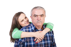 Portrait of happy daughter hugging her father Royalty Free Stock Photos