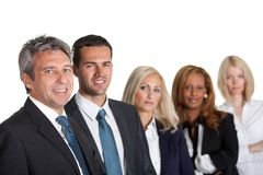 Portrait of a happy diverse business team. In line on white background Royalty Free Stock Image
