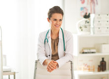 Portrait of happy doctor woman in office Royalty Free Stock Photo