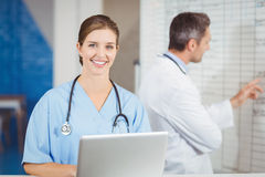 Portrait of happy doctor working on laptop with colleague pointing at chart Royalty Free Stock Images
