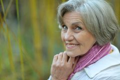 Portrait of happy eldery woman Royalty Free Stock Photos