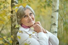 Portrait of happy eldery woman Stock Photos