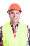 Portrait of happy engineer posing in safety clothes Stock Photo