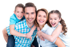 Portrait of the happy european family with children. Looking at camera - isolated on white background royalty free stock images