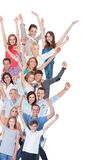 Portrait of happy excited crowd on white background Royalty Free Stock Photo