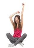 Portrait of happy excited girl with arms extended Royalty Free Stock Photography