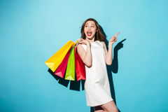 Portrait of a happy excited girl holding colorful shopping bags Stock Image