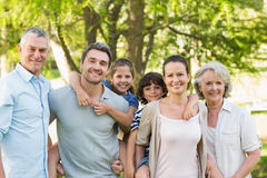 Portrait of a happy extended family in park Royalty Free Stock Photos
