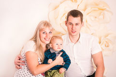 Portrait of a happy family with baby Royalty Free Stock Images