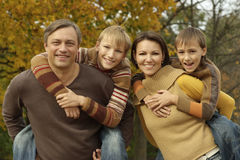 Famil in a beautiful autumn park Stock Photography