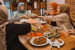 Portrait happy family when breaking fast together stock image