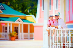 Portrait of happy family on caribbean vacation Royalty Free Stock Photo