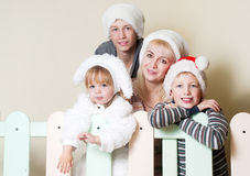 Portrait Happy family in Christmas Stock Images